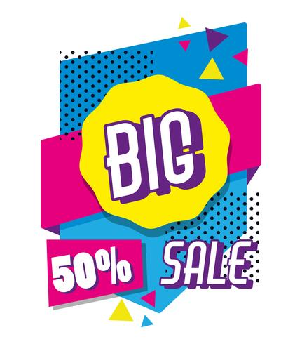 Big sale shopping poster memphis style