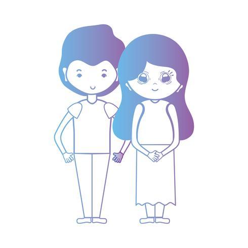 Línea linda pareja junto con diseño de peinado.