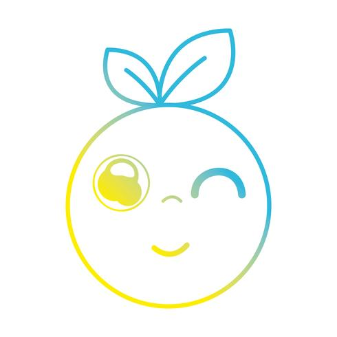 linea kawaii cute happy orange fruit