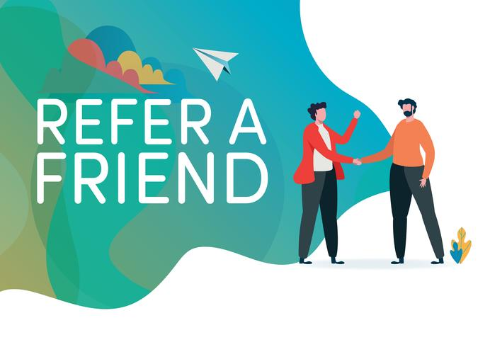 Recruitment. Refer a friend vector illustration.