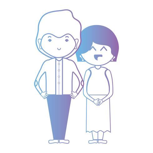ligne joli couple avec design de coiffure