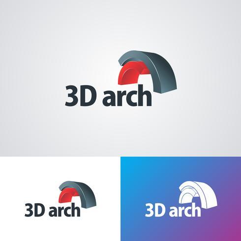 Modelo de Design de logotipo de arco 3D corporativo