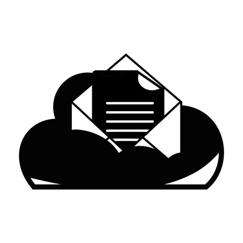 contour cloud data and card with document information vector