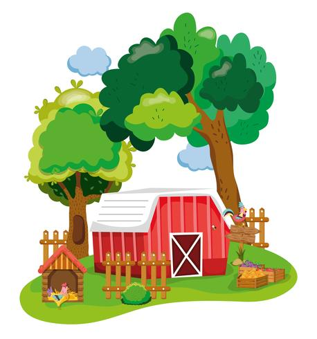 Schöne Bauernhofkarikatur