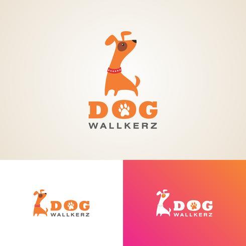 Dog walkers Logo Design Template  vector