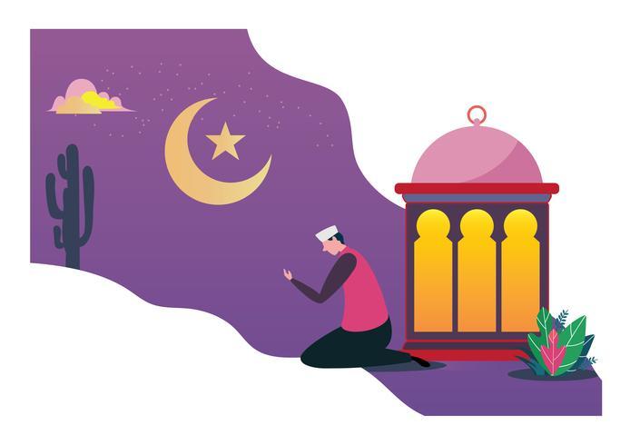 Happy Ramadan Mubarak greeting festival concept design. Vector Flat cartoon