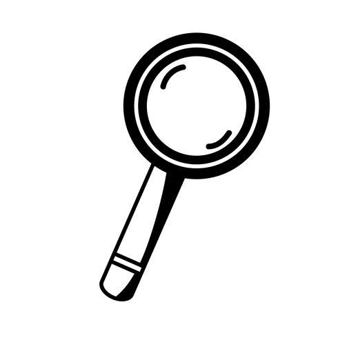 Contorno lupa herramienta objeto diseño vector