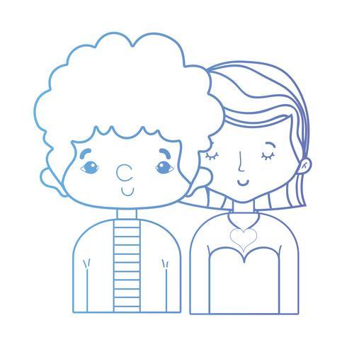 Línea de belleza pareja junto con diseño de peinado. vector