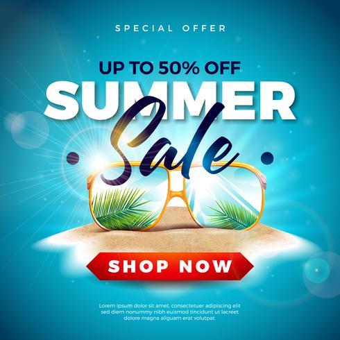 Zomer verkoop ontwerp met exotische palmbladeren in zonnebril op tropische eiland achtergrond. Vector speciale aanbieding illustratie met blauwe oceaan landschap voor coupon