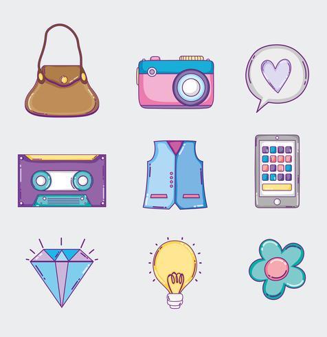 Set di icone della cultura giovanile vettore