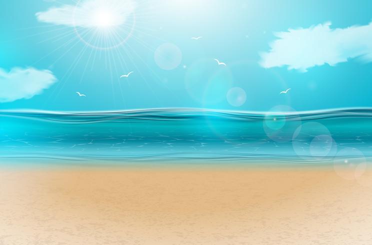 Diseño azul del fondo del paisaje del océano del vector con el cielo nublado. Ilustración de verano con escena de mar y playa de arena.