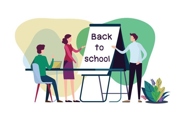 Bienvenido de nuevo al colegio. Profesor y alumnos en el aula. Vector ilustración de dibujos animados plana