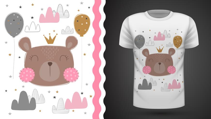 Niedlicher Bär - Idee für Druckt-shirt.