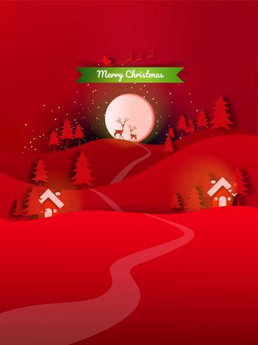Feliz Natal e Feliz Ano Novo. Venda de Natal. Fundo de férias. estilo de artesanato de papel vetor