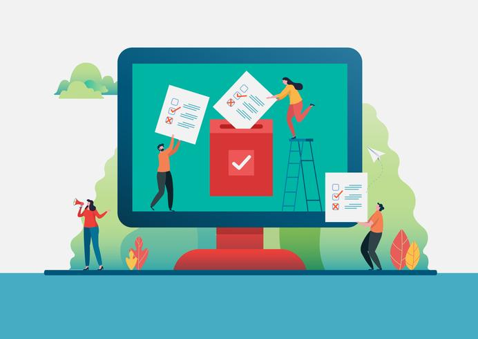 Eleição . Pessoas colocando papel de voto nas urnas. Votação online. Ilustração vetorial plana