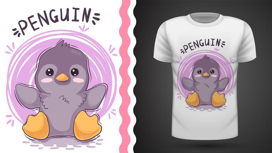 Idée de pingouin mignon pour un t-shirt imprimé.