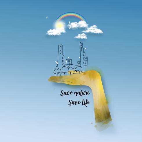 Illustration de concept pour la protection de l'environnement.
