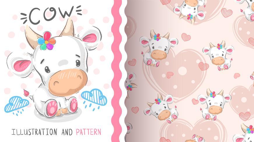 Vaca de pelúcia fofa - padrão sem emenda