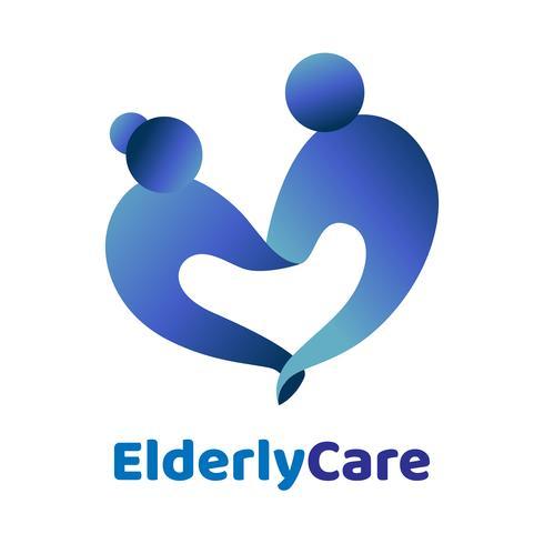 Älteres Gesundheitswesen herzförmige Logo. Pflegeheim Zeichen.