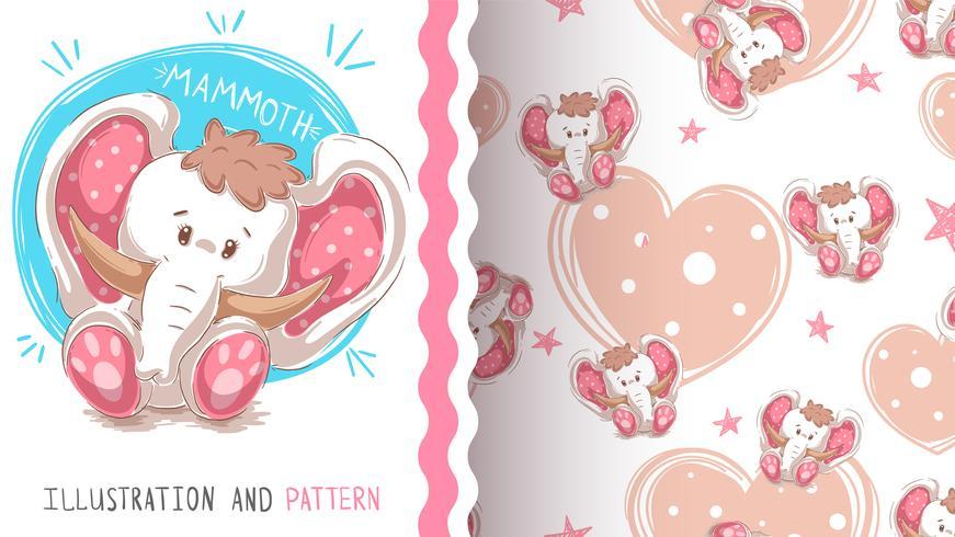 Söt teddy mammut - sömlöst mönster vektor
