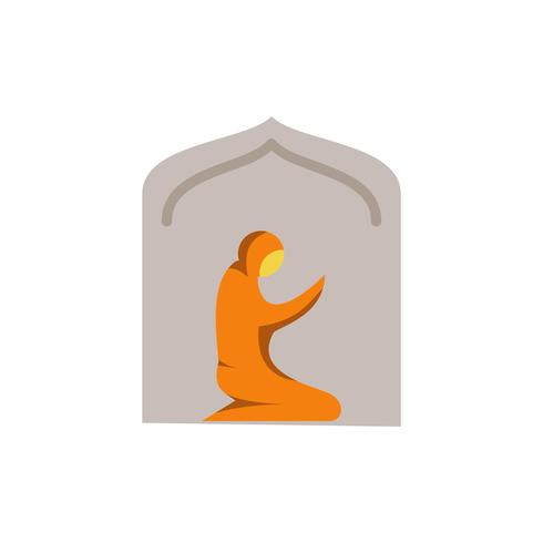 muslim woman prayer in mosque flat icon. ramadan kareem