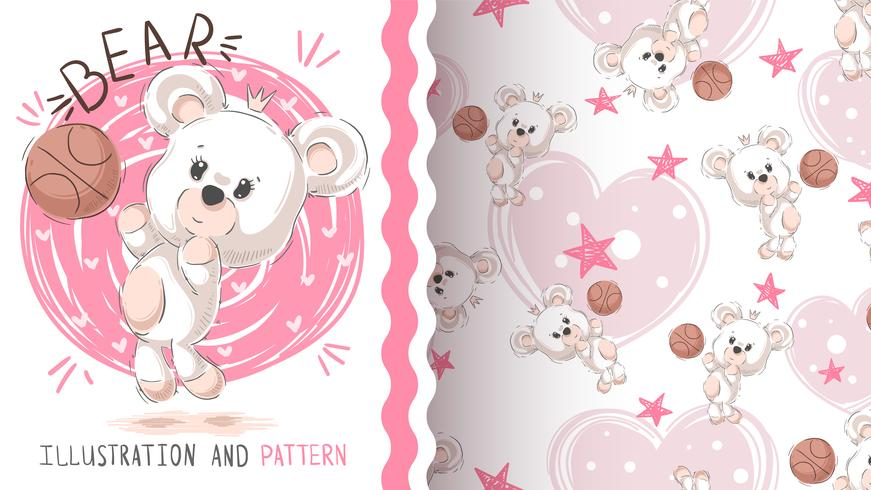 Cute teddy bear - seamless pattern