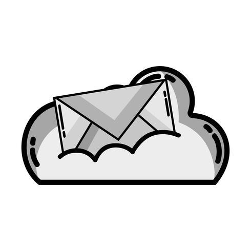 dati cloud in scala di grigi con messaggio di posta elettronica vettore