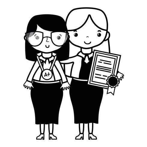 professeur de contour avec étudiant à la leçon d'éducation de classe