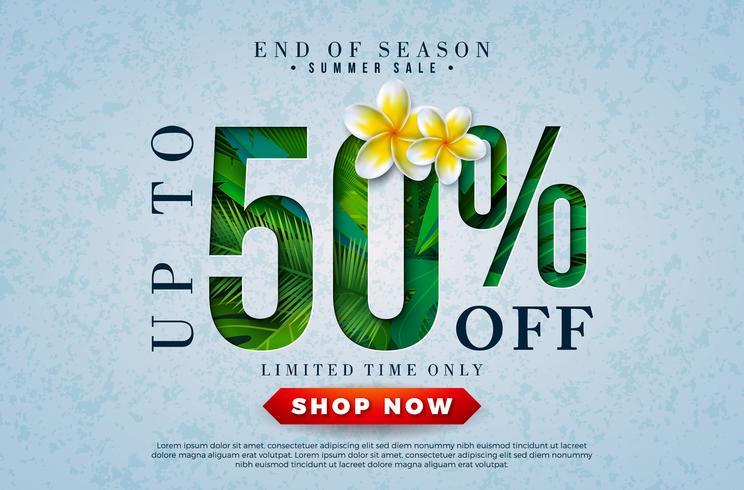 Diseño de la venta del verano con la flor y las hojas de palma tropicales en letra de la tipografía en fondo azul. Vector de fin de temporada oferta especial ilustración con elementos de vacaciones de verano