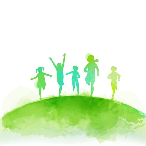 Watercolor of happy kids jumping together . Happy children's day.  vector