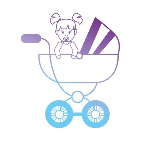 línea bebé niña dentro de diseño de cochecito