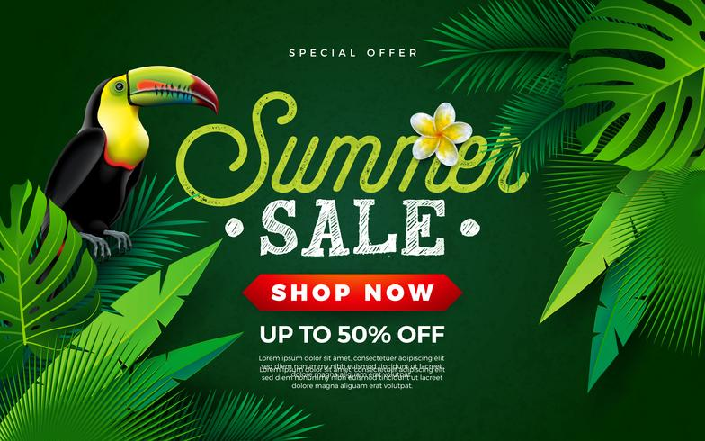 Diseño de la venta del verano con la flor, el pájaro del tucán y las hojas de palma tropicales en fondo verde. Vector ilustración de vacaciones con oferta especial tipografía letra