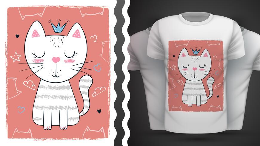 Katt, kattunge - idé för tryckt-skjorta.