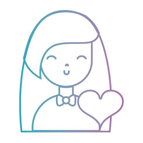 garota de linha com penteado e design de coração
