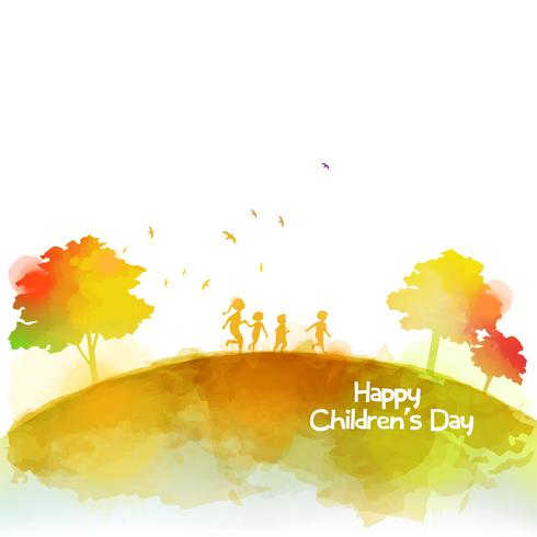 Watercolor of happy kids runing together . Happy children's day.