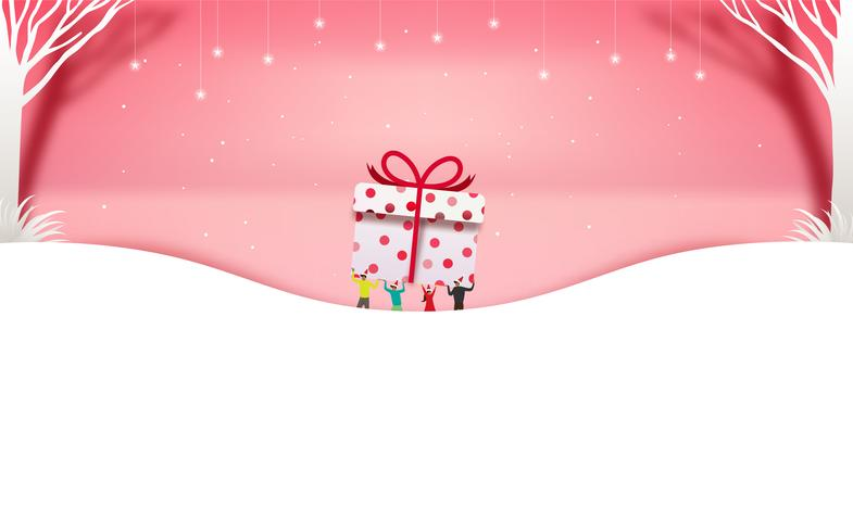 Joyeux Noel et bonne année. Vente de Noël. Fond de vacances. style d'artisanat de papier vecteur
