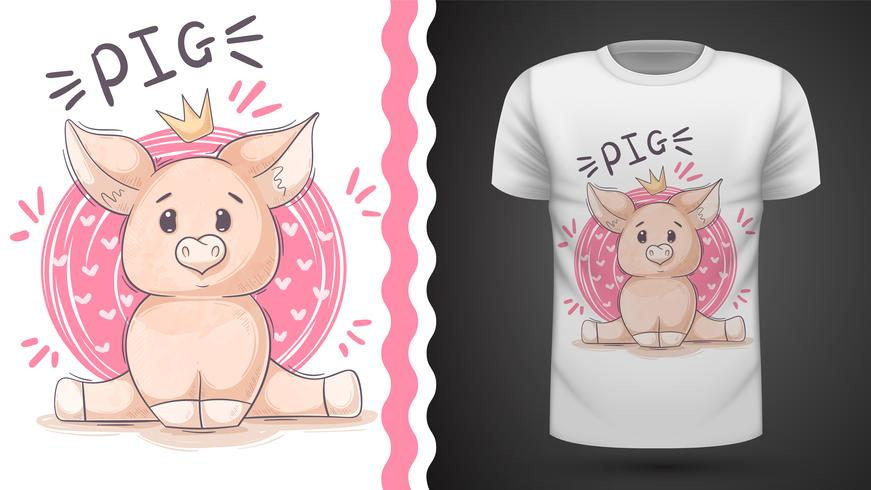 Gullig gris, piggy - idé för tryckt-shirt