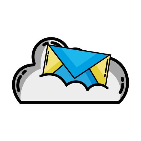 cloud data with e-mail card message vector