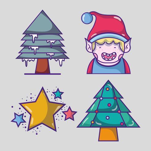 Set Frohe Weihnachten Dekoration Design