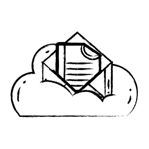 figure cloud data and card with document information