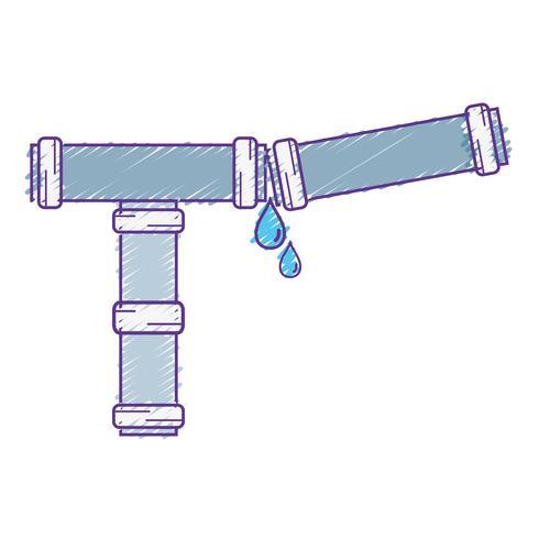 Tubería de reparación de tubos de plomería rallada. vector