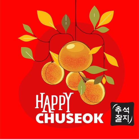 Happy Chuseok Day of Mid Autumn Festival. Koreaanse feestdag. Tangerine of Clementine illustratie. Koreaans vertalen Happy Chuseok