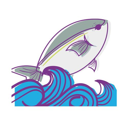 vis dier in de zee met golven ontwerp