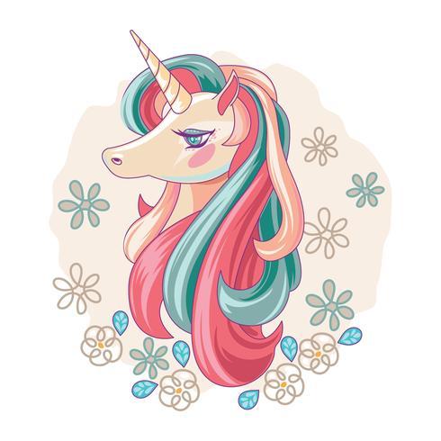 Söt Magic Unicorn och Horn vektor