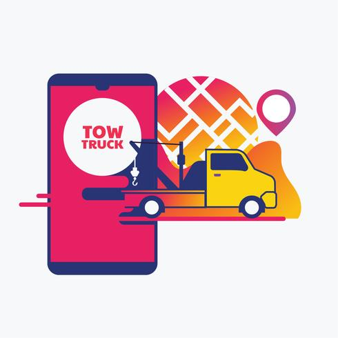 Online roadside assistance, car towing service mobile app concept vector
