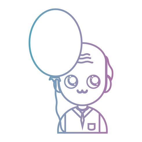 Linie alter Mann mit Cloyhes und Ballon Design
