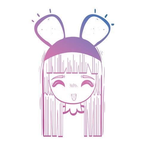 Linie Anime Mädchenkopf mit custome und Frisur