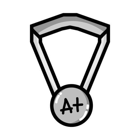 simbolo della medaglia di scuola in scala di grigi per studente intelligente