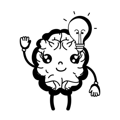 contorno kawaii cérebro feliz com idéia de bulbo