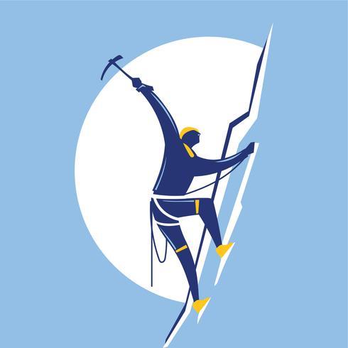 Kletterer. Athletischer Mann, der oben die Klippe klettert
